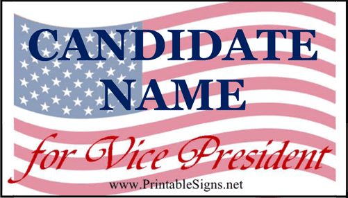 Vice President Sign Palm Cards Sign