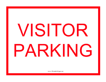 Visitor Parking Red Sign