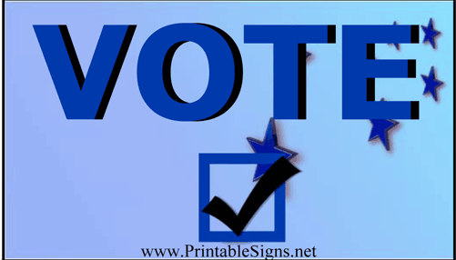 Vote Sign Blue Palm Cards Sign