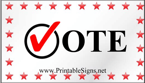Vote Sign Palm Cards Sign