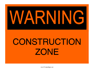Printable Warning Construction Zone Sign