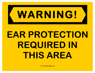 Warning Ear Protection 2 Sign