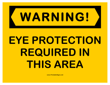 Warning Eye Protection Sign