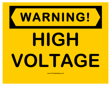 Warning High Voltage 2 Sign