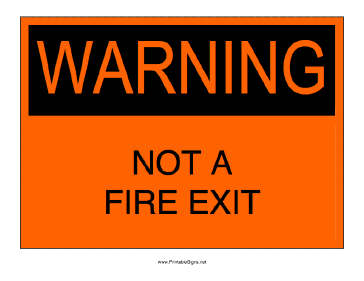Not A Fire Exit Sign