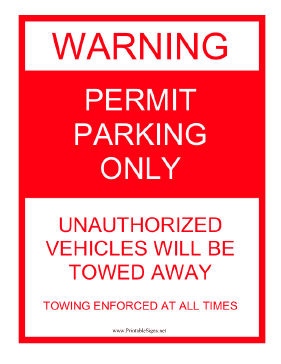 Warning Permit Parking Only Sign
