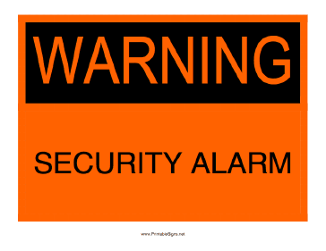Warning Security Alarm Sign