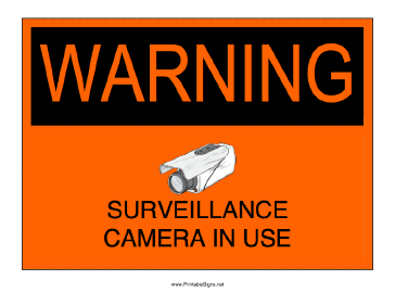 Surveillance Camera In Use Sign
