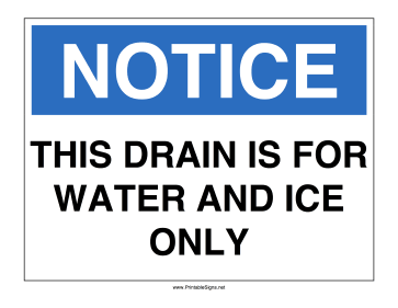 Water Drain Only Sign
