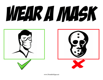 Wear A Mask Sign Sign