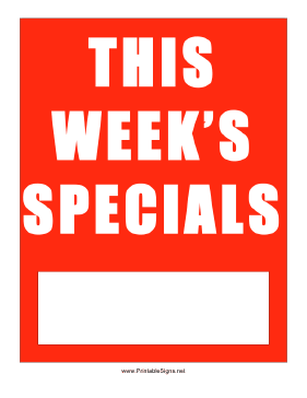 This Week's Specials Sign