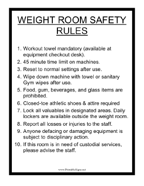 Weight Room Safety Rules Sign