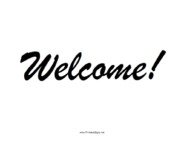 picture relating to Free Printable Welcome Sign Template named Printable Welcome Signal