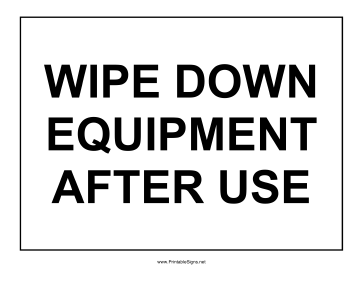 Wipe Down Equipment Sign