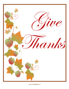 Give Thanks Sign sign