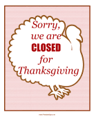 Thanksgiving Closed Sign sign